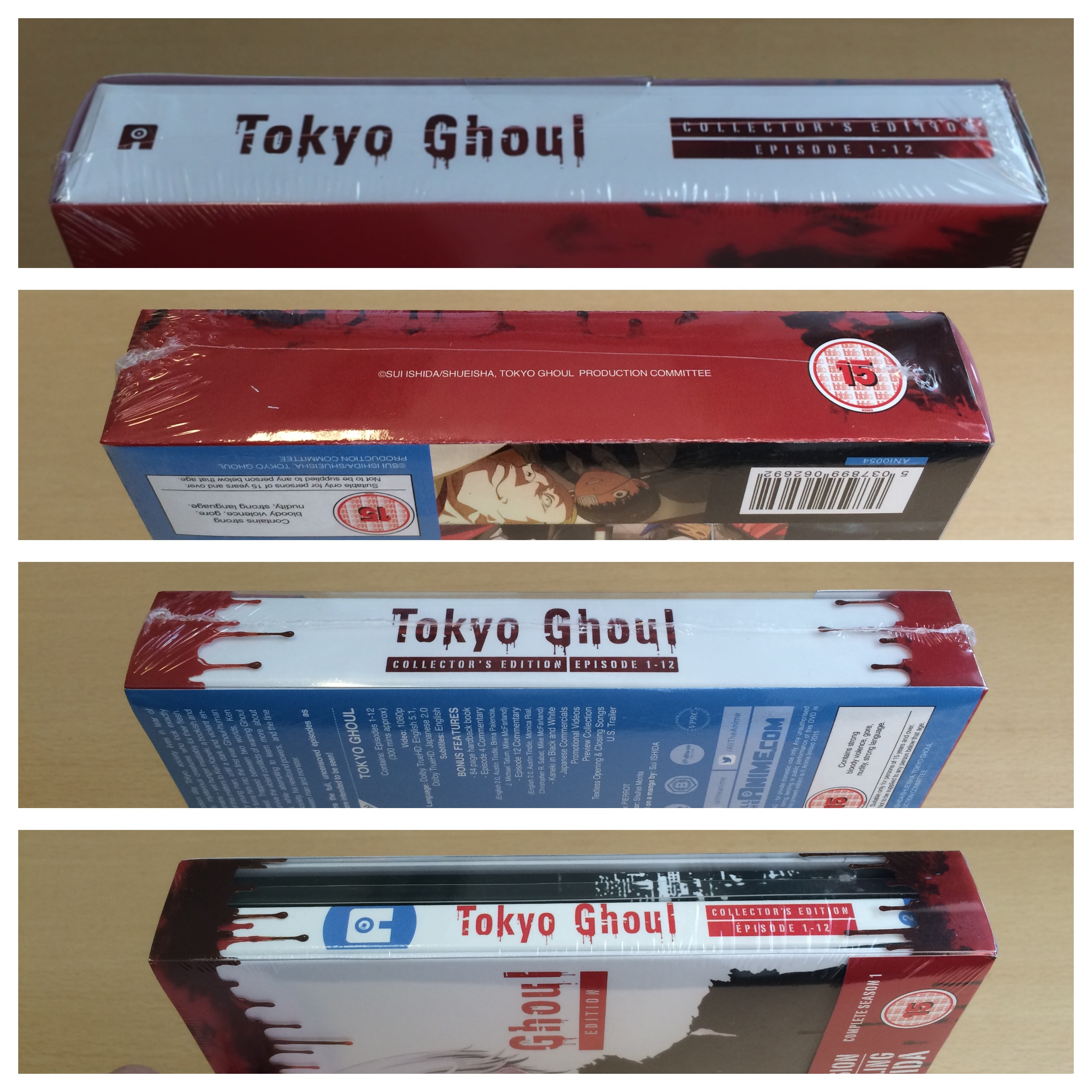 All 4 spines of the box, with the o-card/transparent sleeve still around the box.