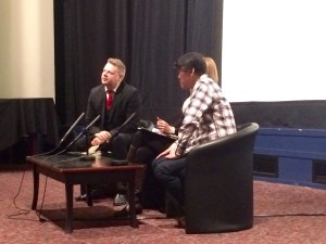 Jonathan Clements (left) hosting the post-screening Q&A with Keiichi Hara (right)