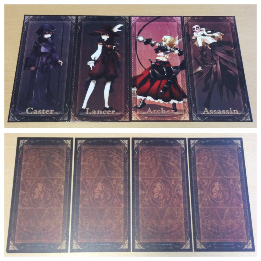 All four Tarot cards, showing both sides