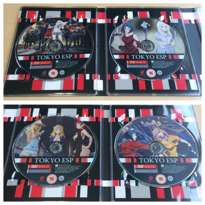 The inside of the digipack featuring all four discs. The top picture featuring the two Blu-ray discs with the centre spine being on the right, and bottom picture featuring the two DVD discs with the centre spine on the left.