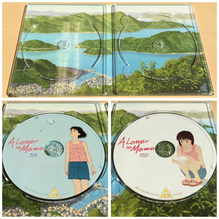 And now the inside of the digipack with the discs removed. The Blu-ray and DVD discs shown close up underneath.