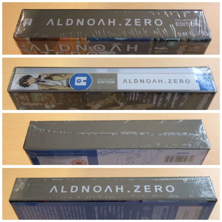 All four spines of the rigid case, cellophane around it