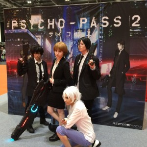 Photo of cosplayers taking advantage of the Psycho-Pass photo op area at MCM London Comic Con - May 2016