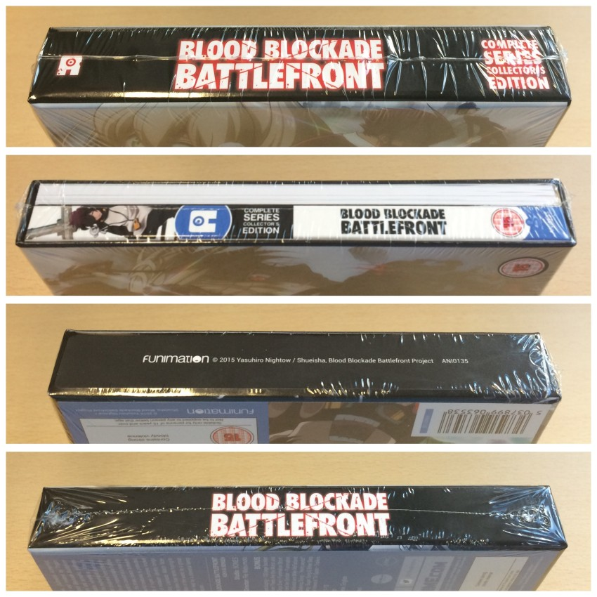 All four spines of the box, cellophane around it