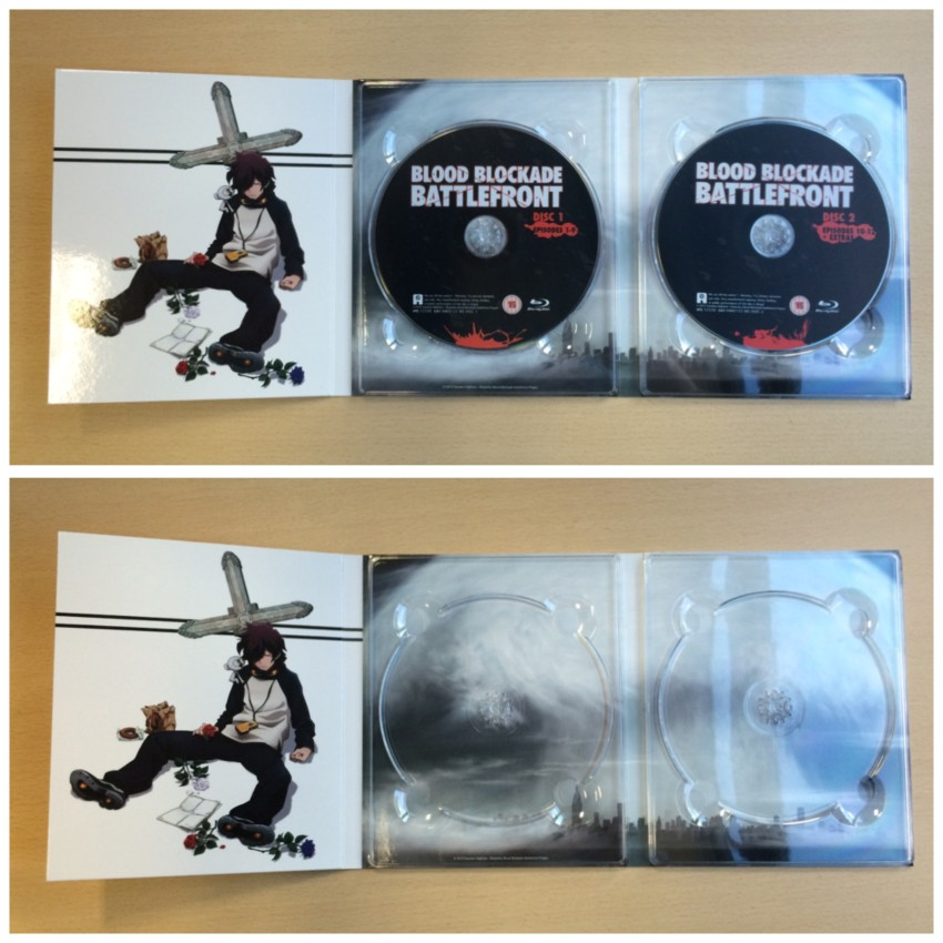 Now the inner side of the digipack with the discs in place (top) and then discs removed (bottom)