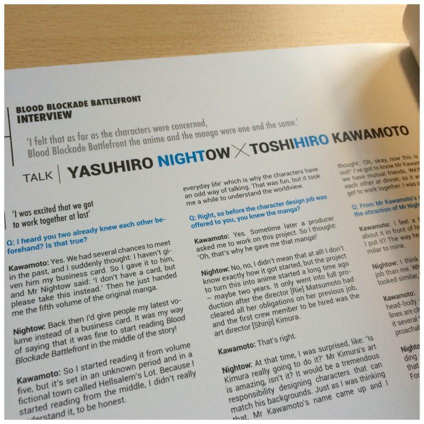 First of all an interview with original creator Yasuhiro Nightow and Character Designer Toshihiro Kawamoto