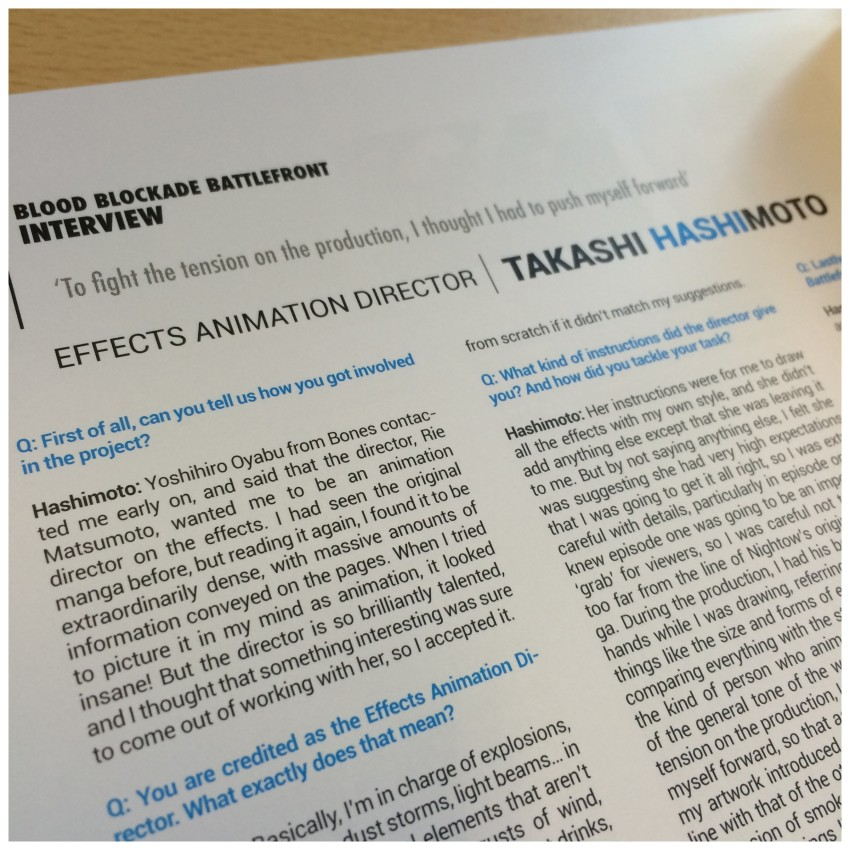 Interview with Effects Animation Director Takashi Hashimoto.