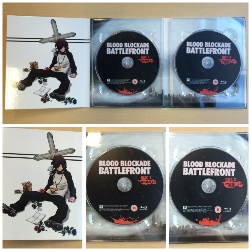 The complete inner side of the digipack, with the two Blu-ray discs in place