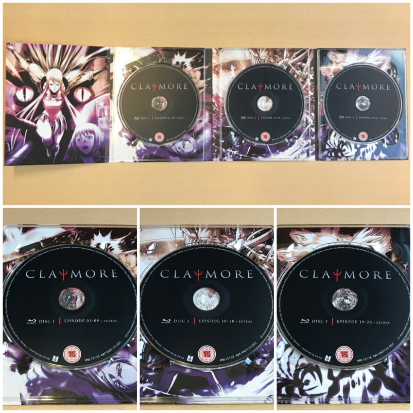 Digipack with discs in place (top) and a closer look at all three discs