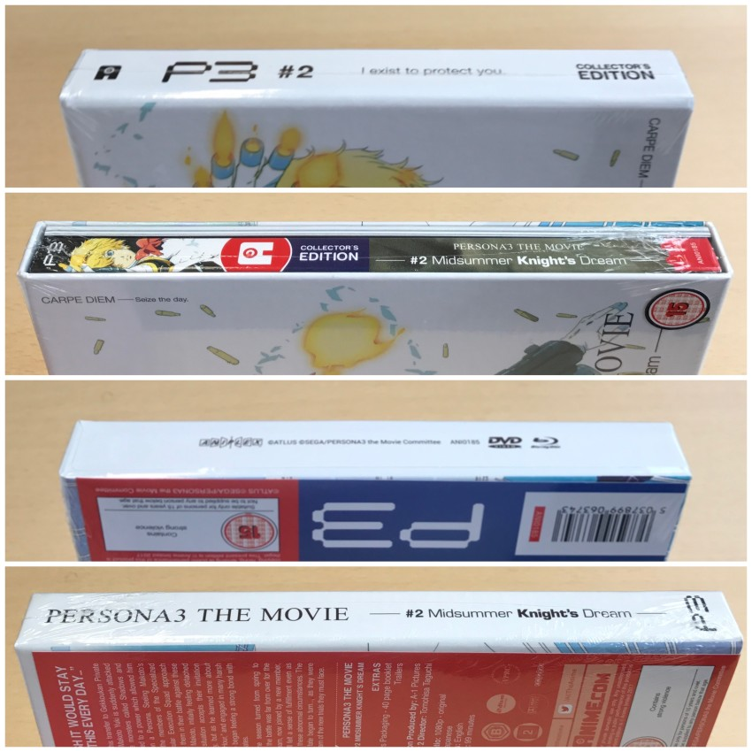 All four spines of the box, cellophane around the box.