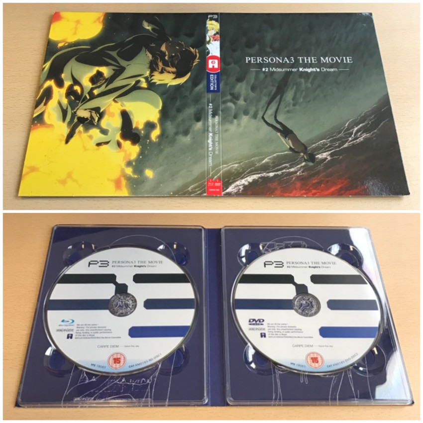 The digipack to hold the discs. Outer side (top) and inside with the discs in place (bottom)