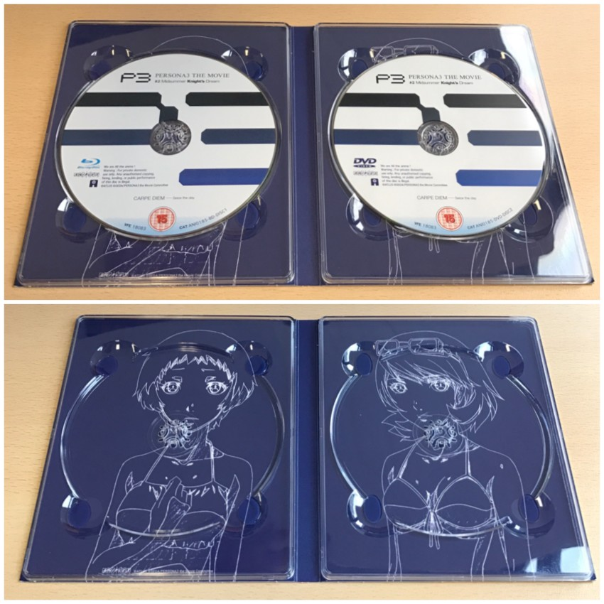 Inside of the digipack, discs in place (top) discs removed (bottom)