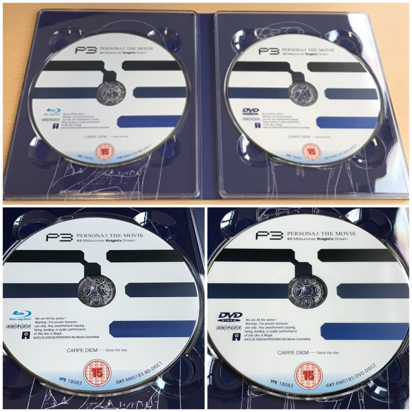 Inside of the digipack with discs in place (top) and then a closer look at the discs (bottom)