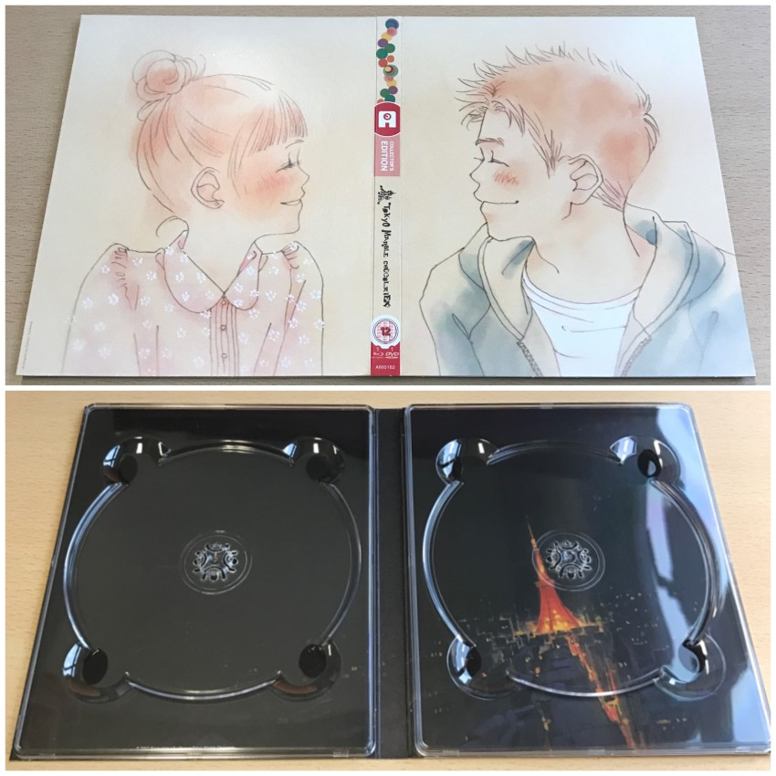 The outer side of the digipack (top) and inner side (bottom) with the discs removed