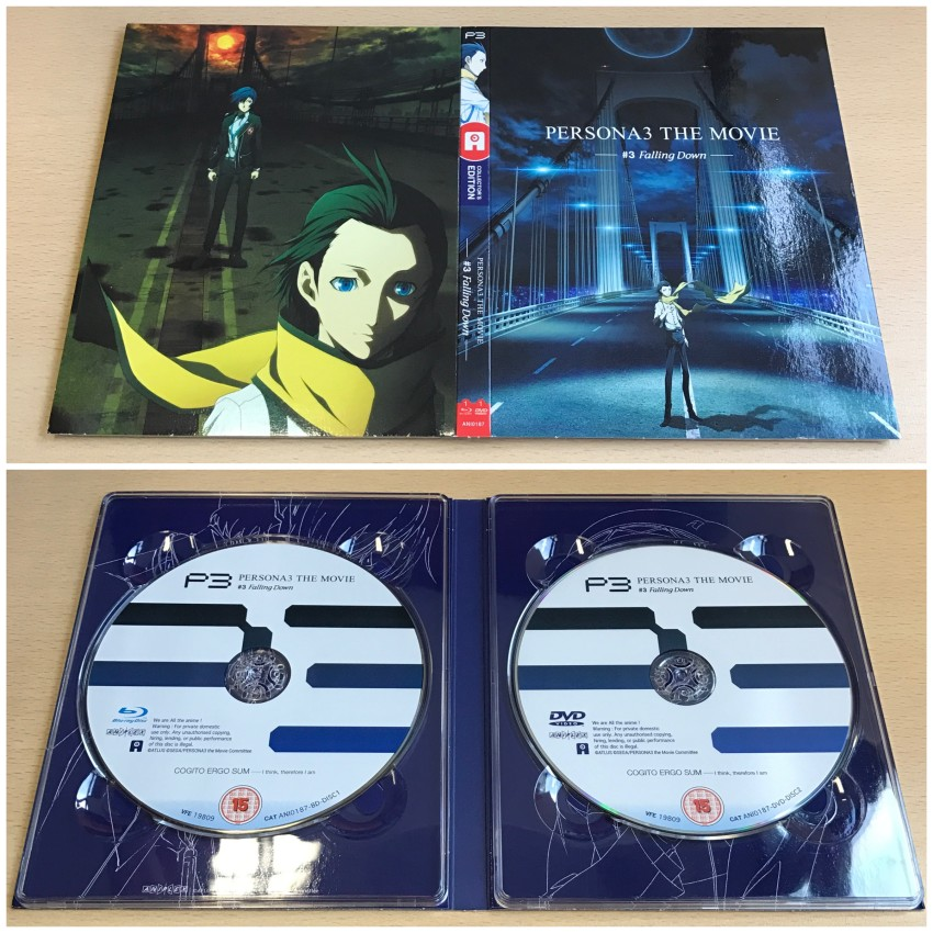The digipack. The outer side (top) and inner side (bottom) with discs in place