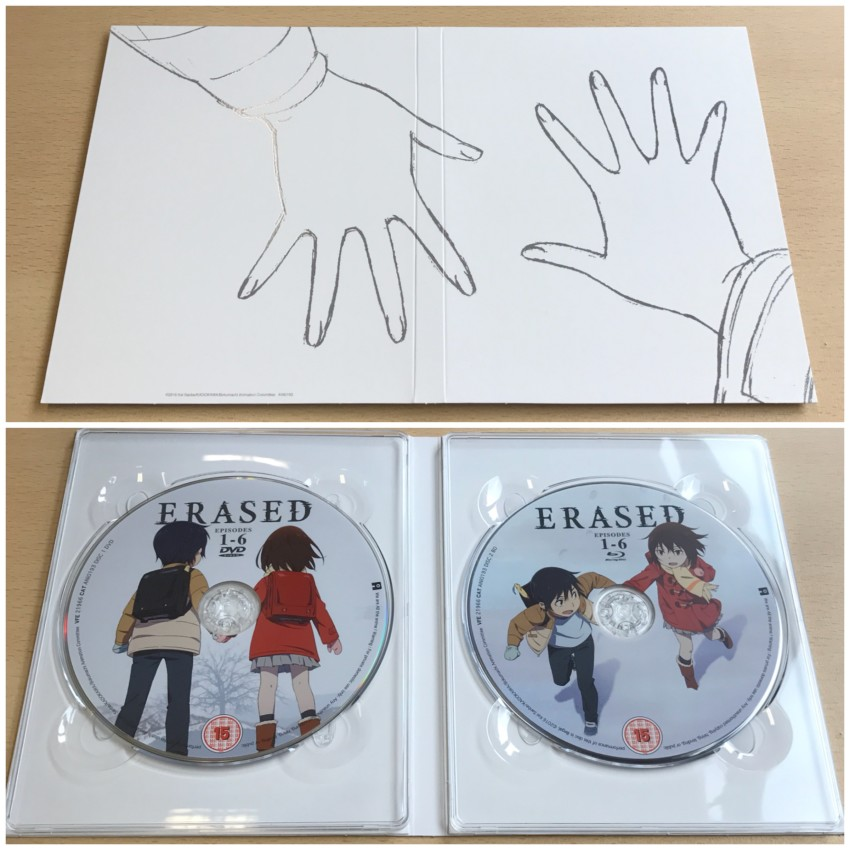 The digipack. Outer side (top) and inner side with discs in place.