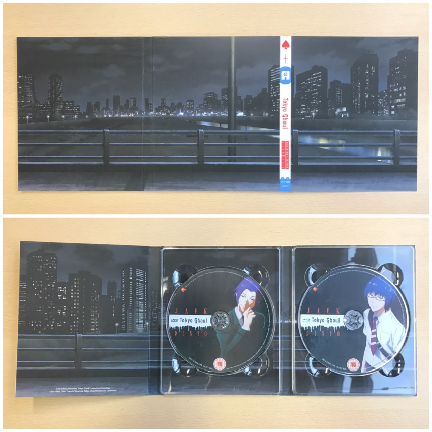 The outer side (top) and inner side with discs in place (bottom) of the digipack