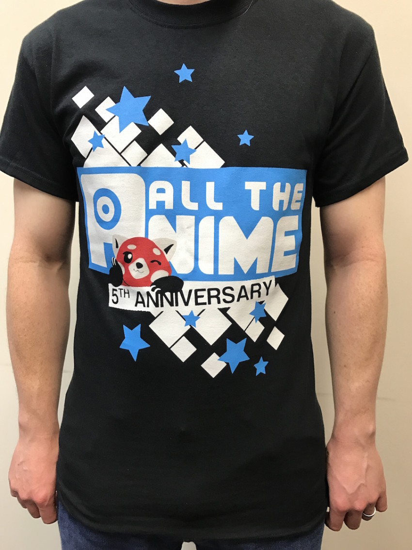 5th Anniversary t-shirt - available exclusively from AllTheAnime stand at MCM London Comic Con