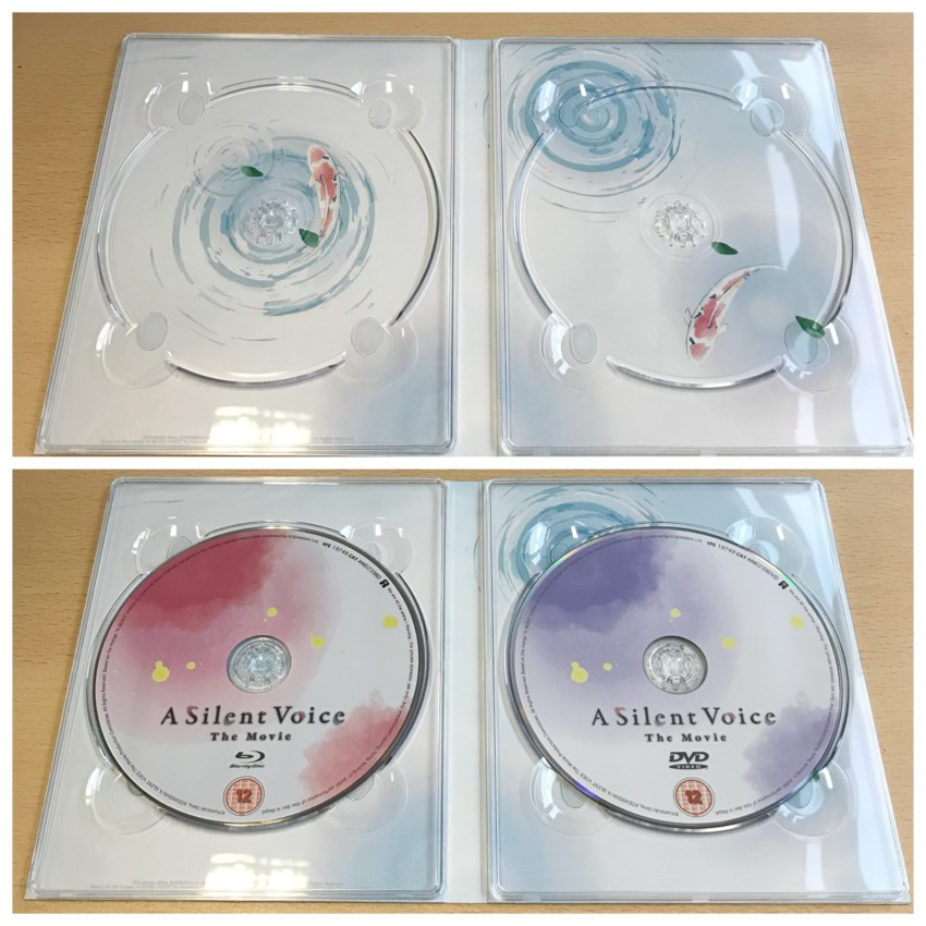 Digipack, inner side. (top) with discs removed, (bottom) discs in place