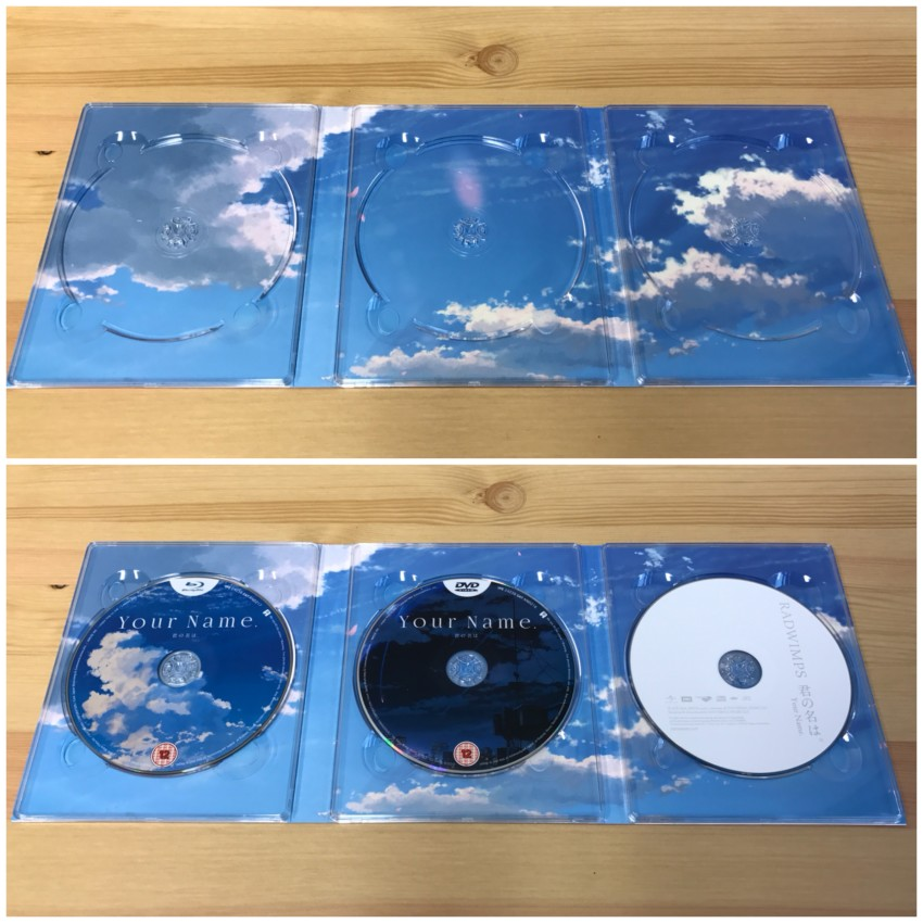 The inner side of the digipack with the discs removed (top) and discs in place (bottom)