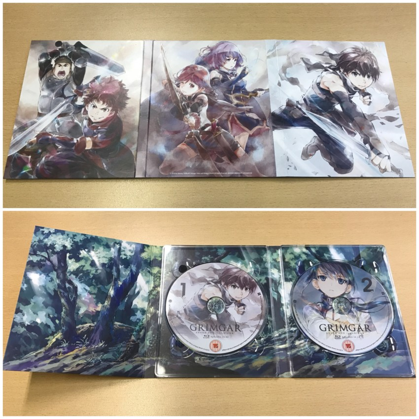 The digipack. The outer side (top) and inner side with discs in place (bottom)