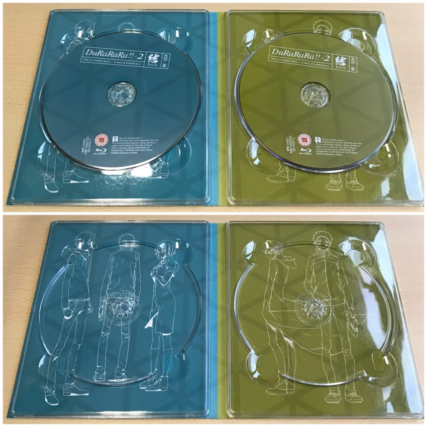 Inner side of digipack. With discs in place (top) and discs removed (bottom)