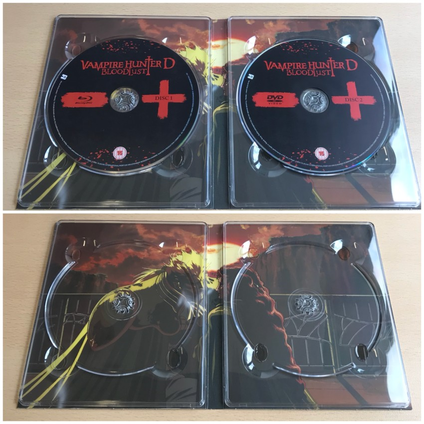 Inner side of digipack with discs in place (top) and removed (bottom)
