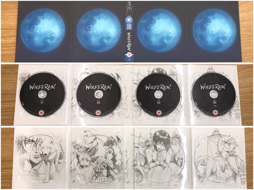 The digipack that holds the four Blu-ray discs. The outer side (top), inner side with discs in place (middle) and discs removed (bottom)