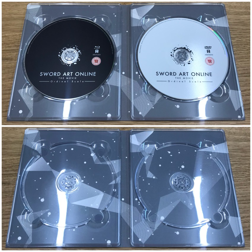 The inner side of the digipack with discs in place (top) and removed (bottom)