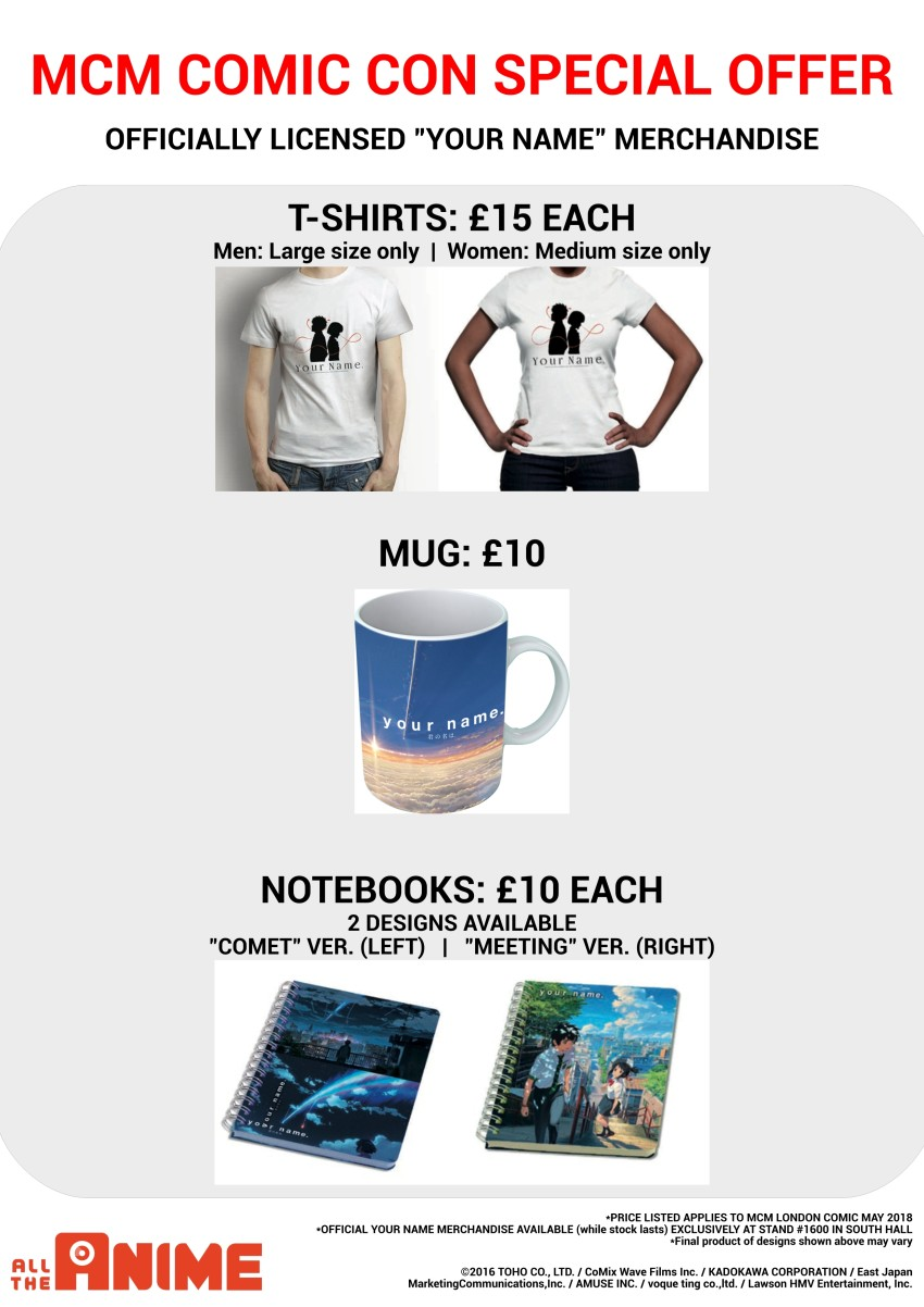 Your Name merchandise available exclusively from All The Anime stand at MCM London Comic Con - May 2018