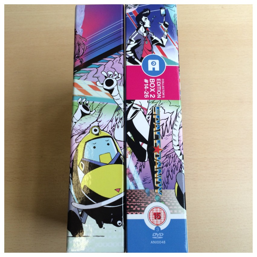 The spine of the box and o-card side-by-side