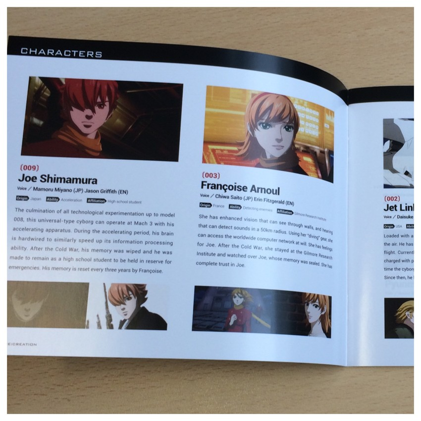 A glimpse inside the booklet, this section focusing on characters specifically