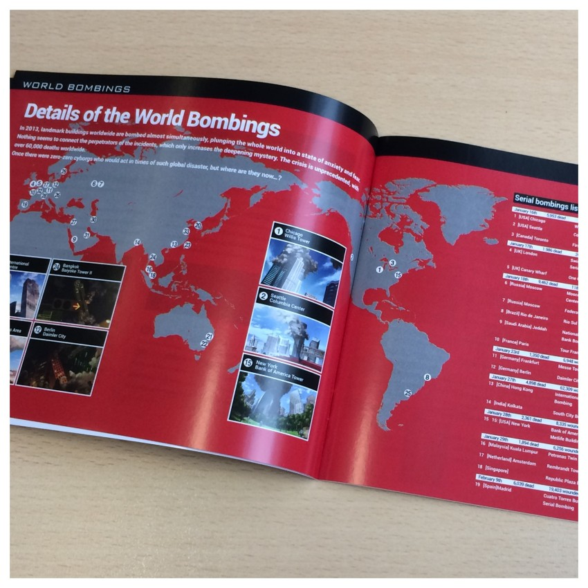 Another look inside the booklet, this time looking back at key events in the 009 franchise