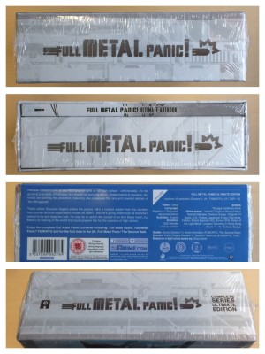 All four spines with plastic wrap. (The blue sticker is attached to the plastic wrap, not the box itself.)