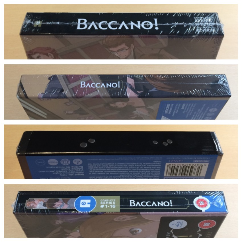 All four spines of the box with the plastic wrap around the box.