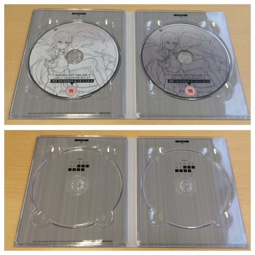 The inside of the digipack, with the discs in place and removed
