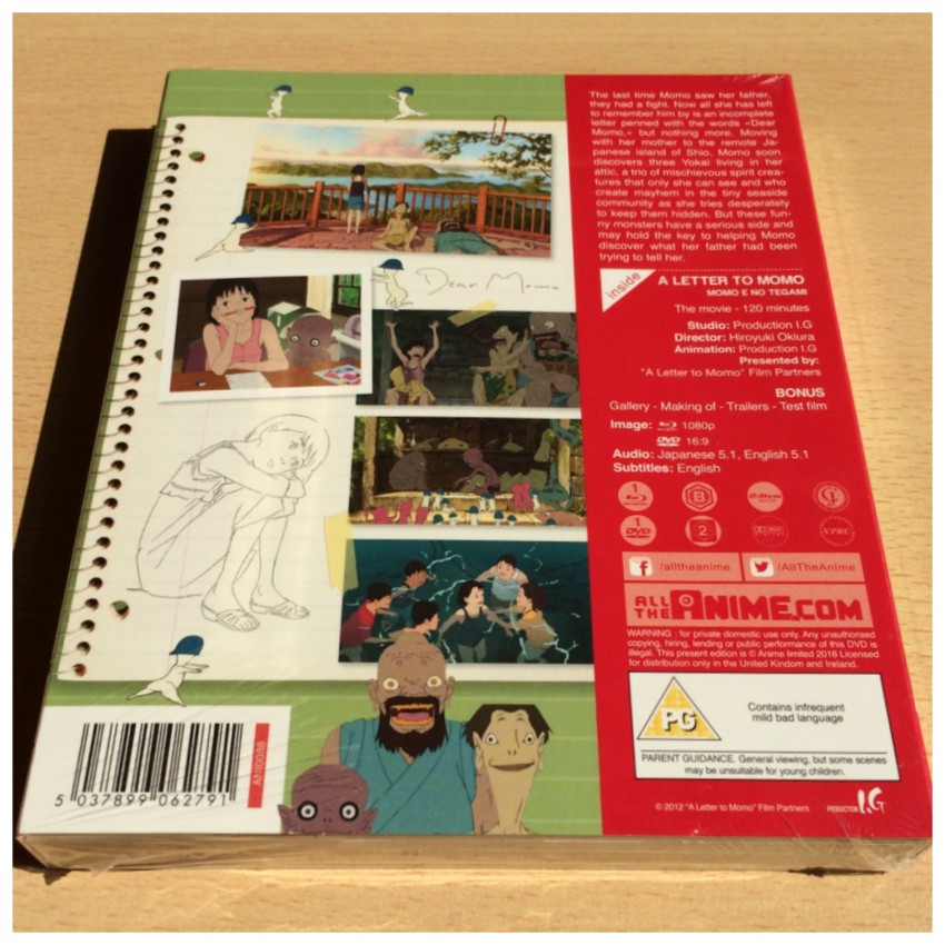 The back of the package with the cellophane around it.
