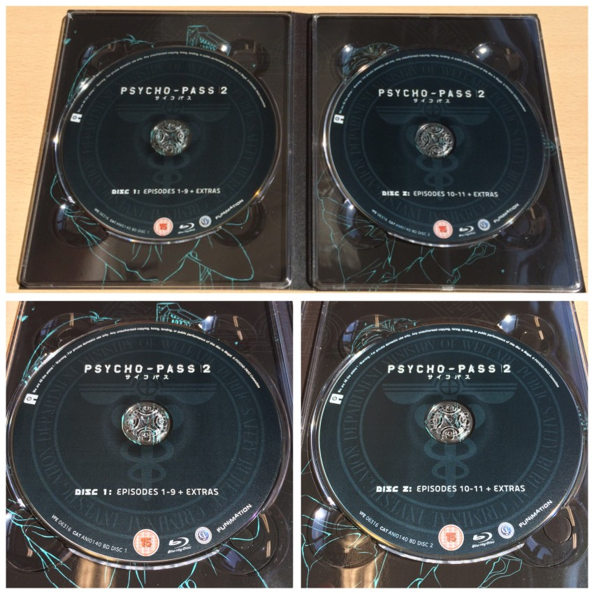 The inside of the digipack with the two discs in place.