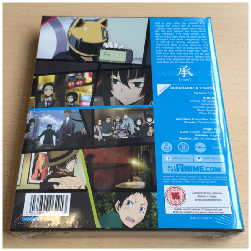 The back of our Ltd Collector's Edition Blu-ray set, cellophane still around it. As a note, the info sheet is attached to the back of the rigid case with glue dots.