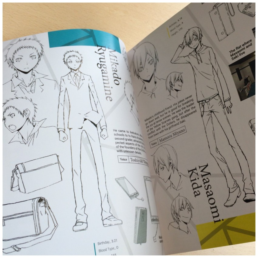 The book showcases lots of character art and information. Here's a glimpses at the page featuring Mikado and Kida.
