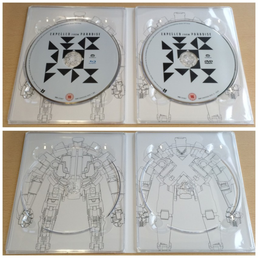 Now the inner side of the digipack with the discs in place (top) and then them removed (bottom)