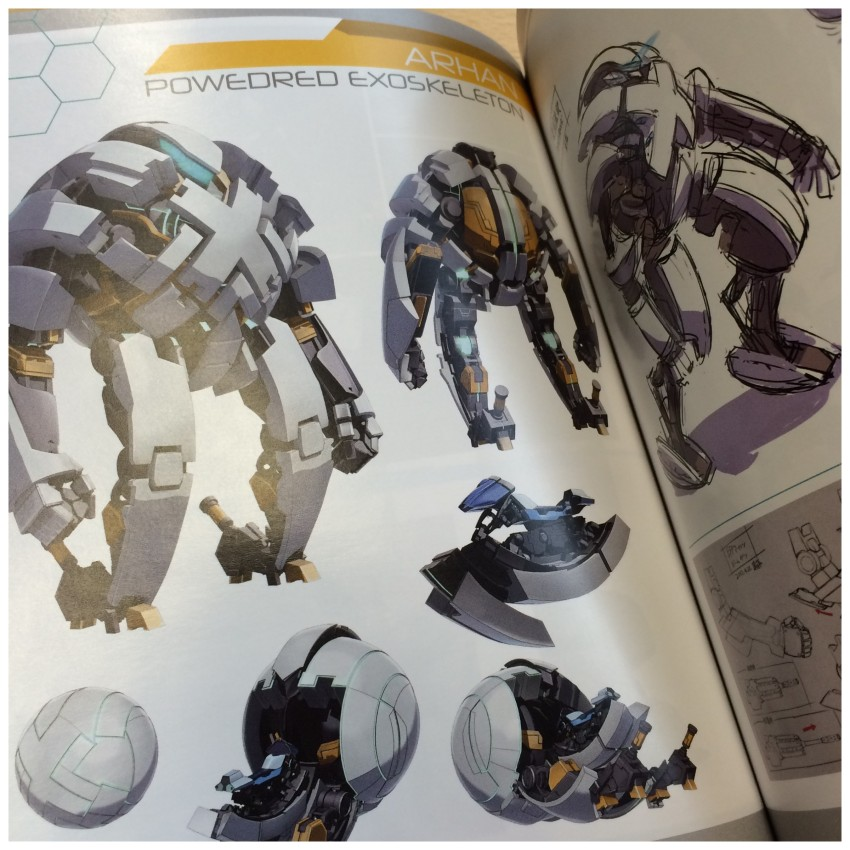 Included in the character section are design of the mechs, called Arhan, that you see in the film