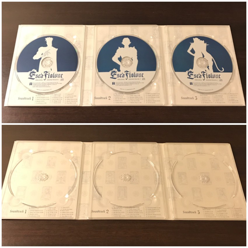 The inner side of the digipack with the discs in place (top) and removed (bottom)