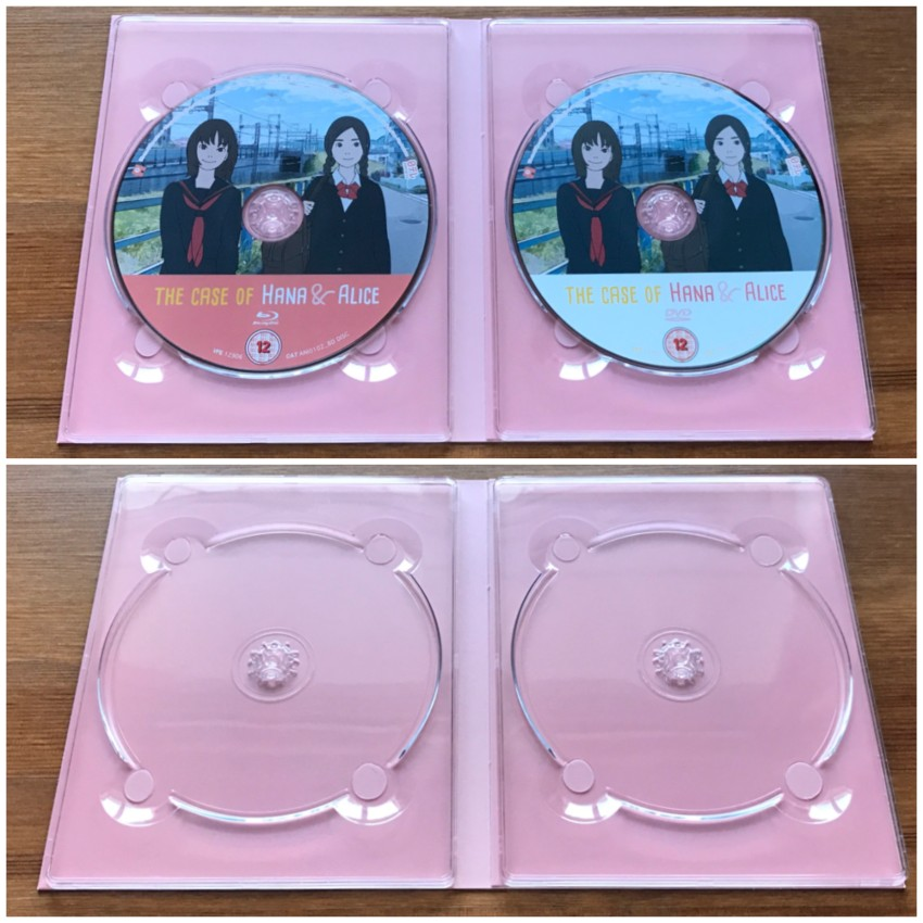 Now the inner side of the digipack with the discs in place (top) and the discs removed (bottom)