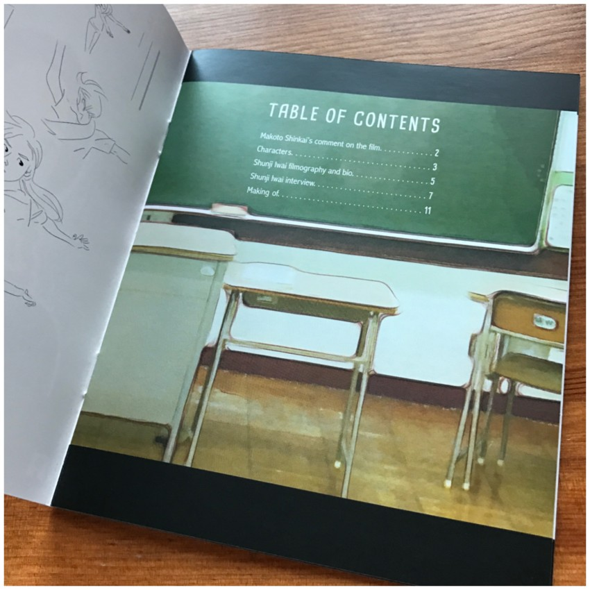 The contents page of the booklet