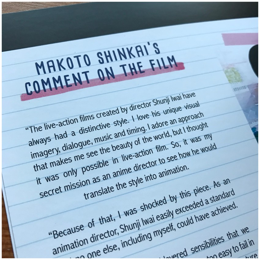 A glimpse at the comment by Makoto Shinkai