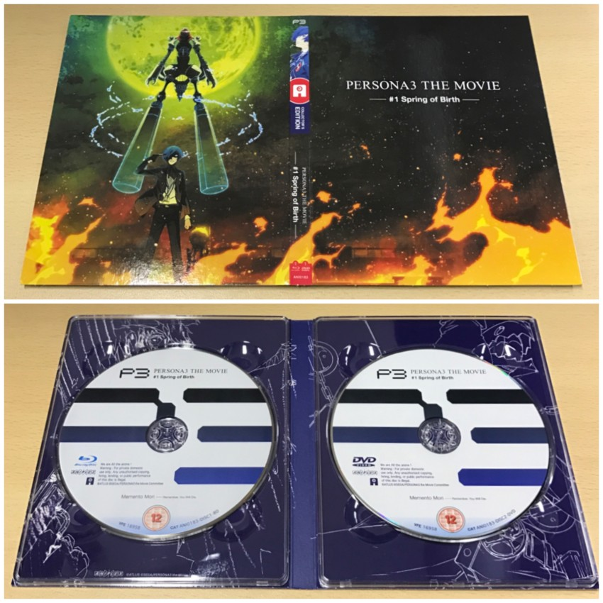 The digipack to hold the discs. The outer side (top) and inner side with discs in place (bottom)