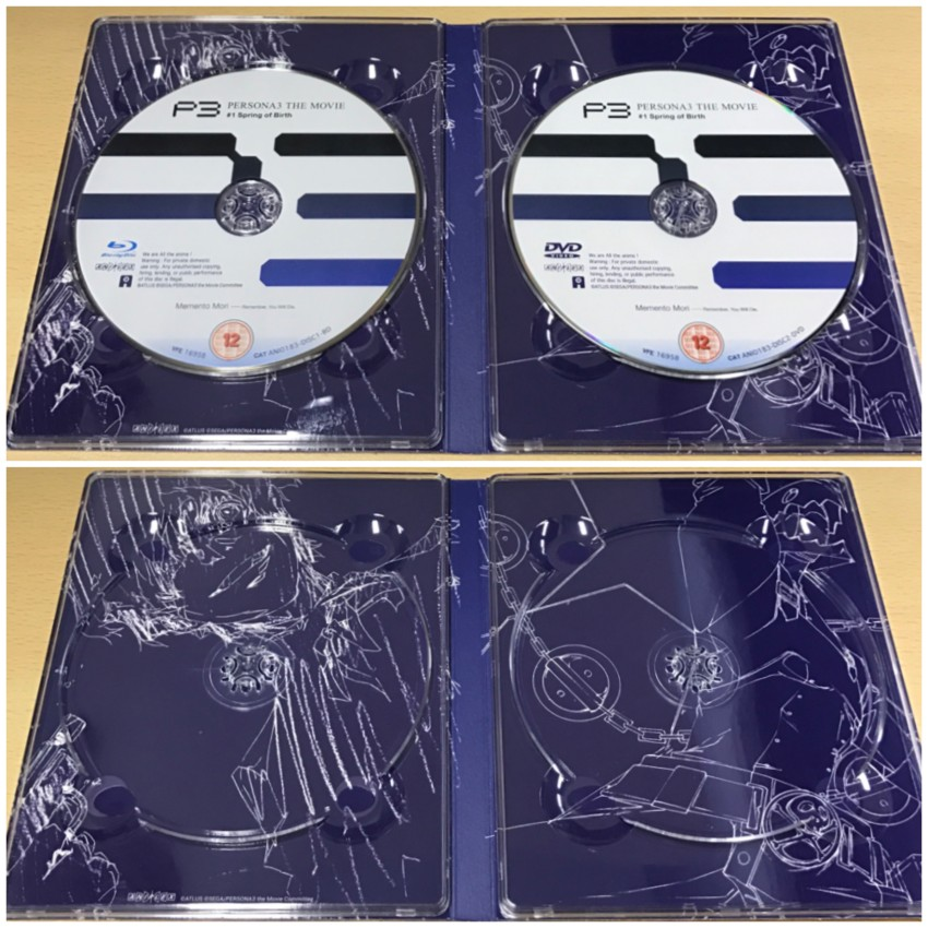 The inner side of the digipack with discs in place (top) and discs removed (bottom)