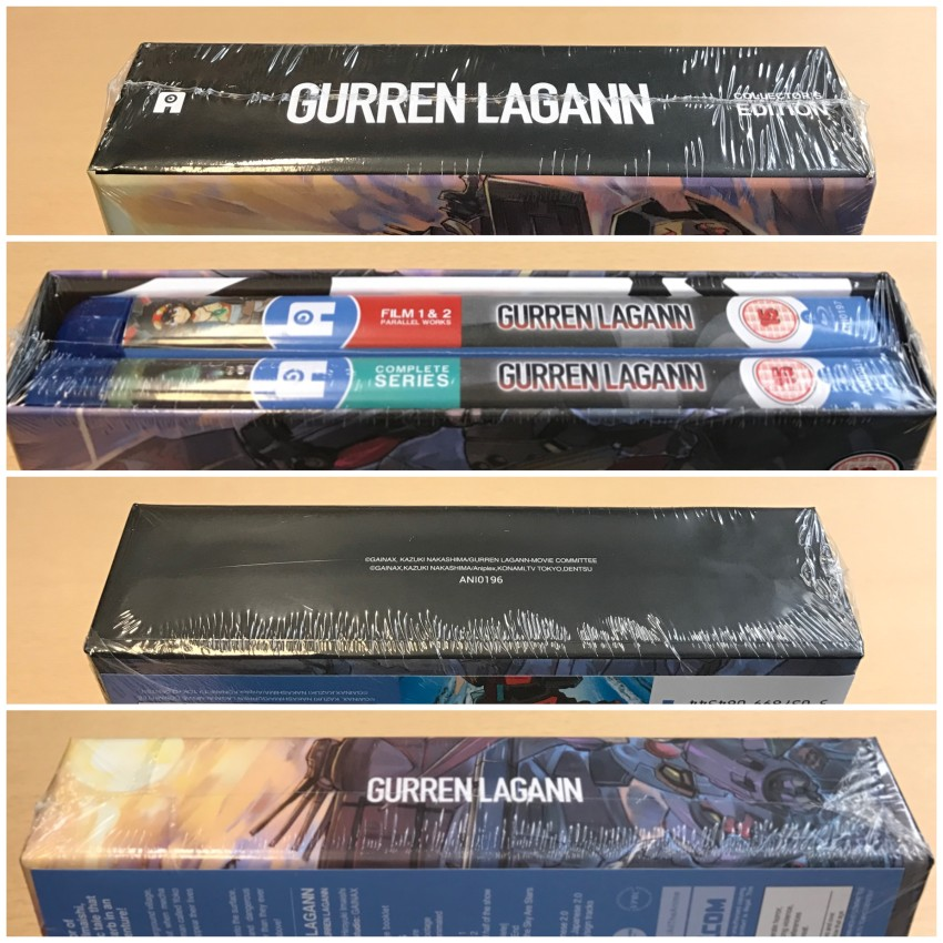All four spines of the rigid case, cellophane still around it.