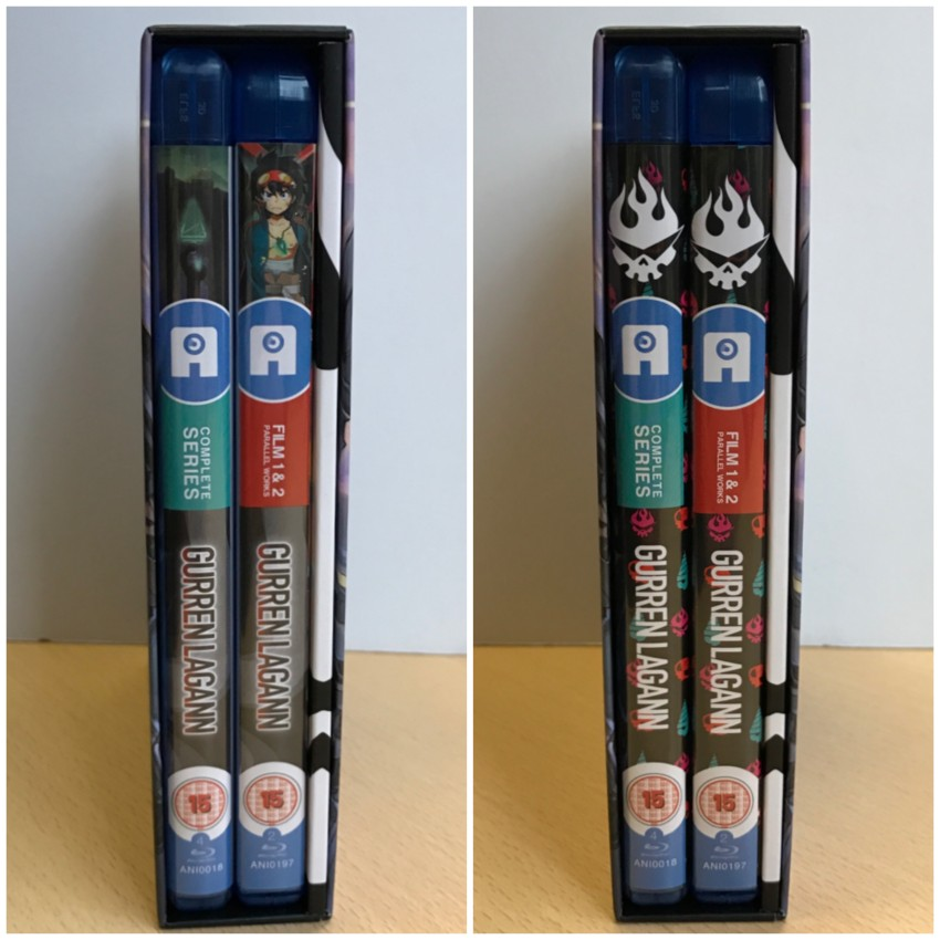 (Left) what the regular sleeve spine designs look like together | (right) what the alternate sleeve spines look like together.